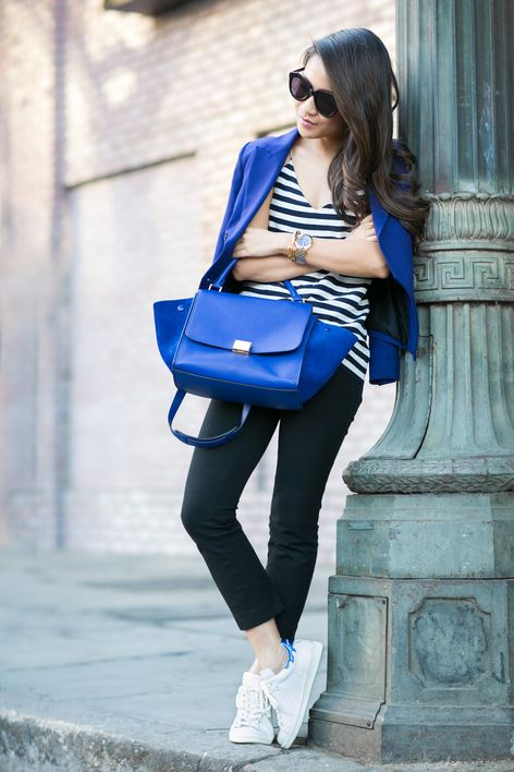 I like the simplicity of the basic pieces paired with a pop of color. This is one of my favorite shades of blue.
