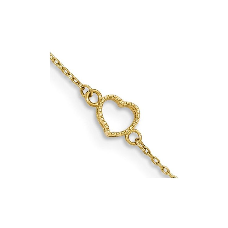 14K Yellow Gold Textured and Polished Heart w/ 1in. ext. Anklet ** Read more reviews of the product by visiting the link on the image. (This is an Amazon Affiliate link and I receive a commission for the sales)