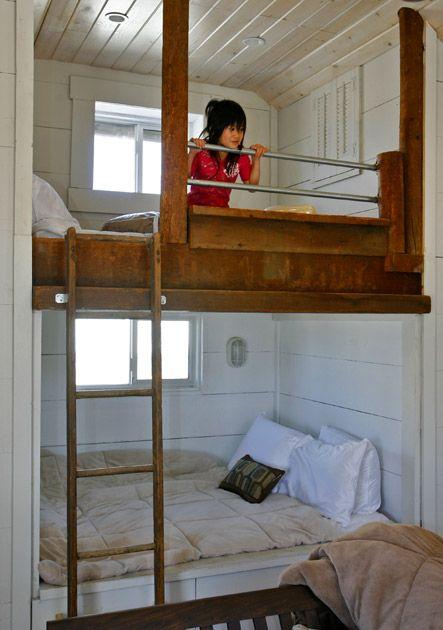 Funky beach house bedroom bunk bedsBeach House, House Ideas, Bunk Beds, Kids Room, Small House, Loft Beds, Bunk Room, Bedrooms Ideas, Bedroom Ideas