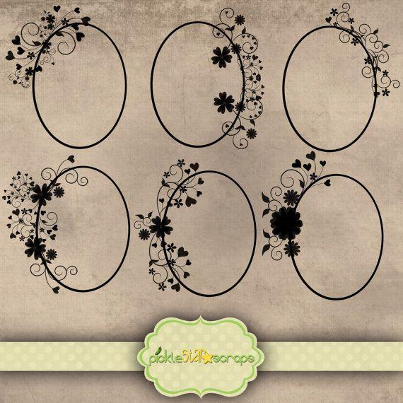 Frames  Black Decorated Oval Thin Border  by PickleStarScraps