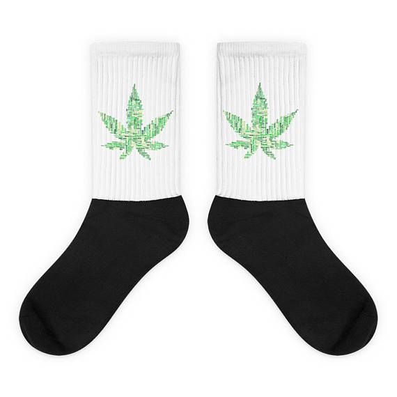 Check out this item in my Etsy shop https://www.etsy.com/listing/566672487/marijuana-leaf-word-art-socks-green-and