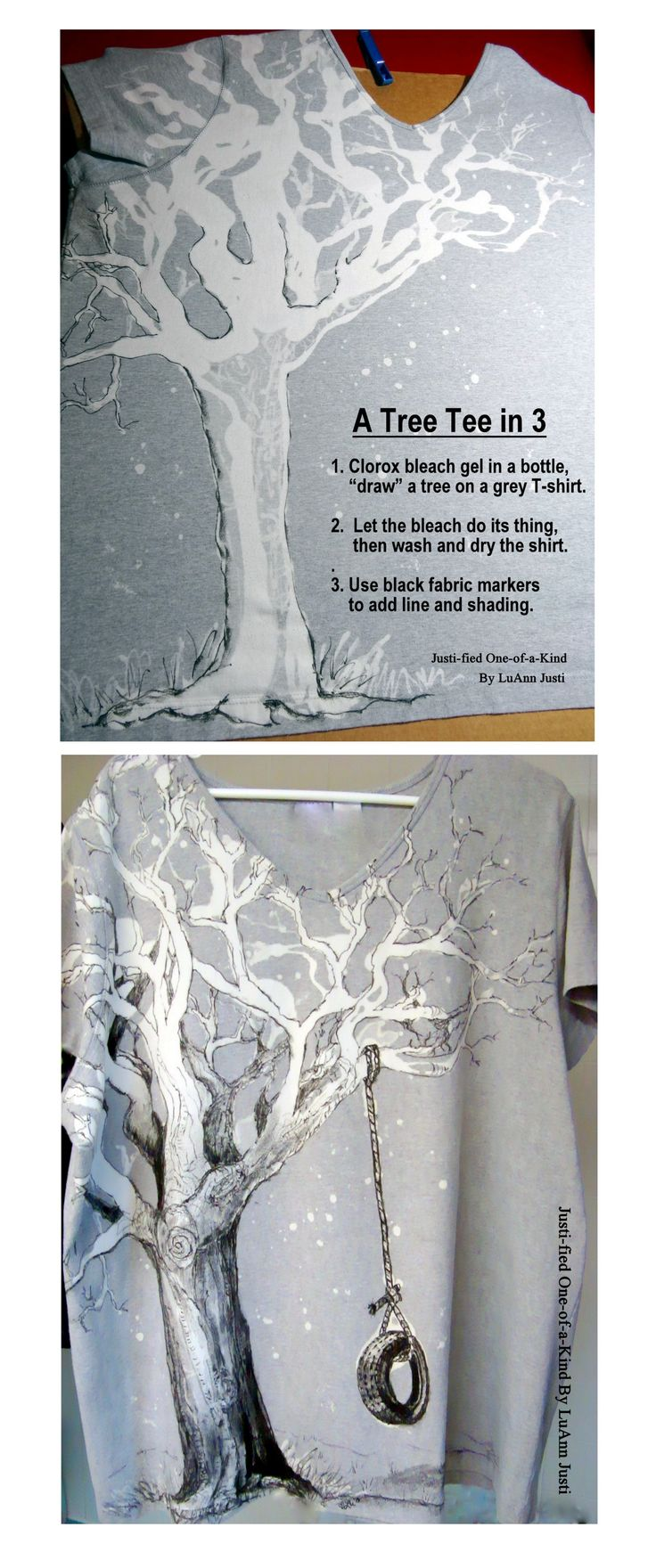 Bleach gel in a bottle (not a pen) creates a loose drawing, then tighten it up with fabric markers for a fun technique.