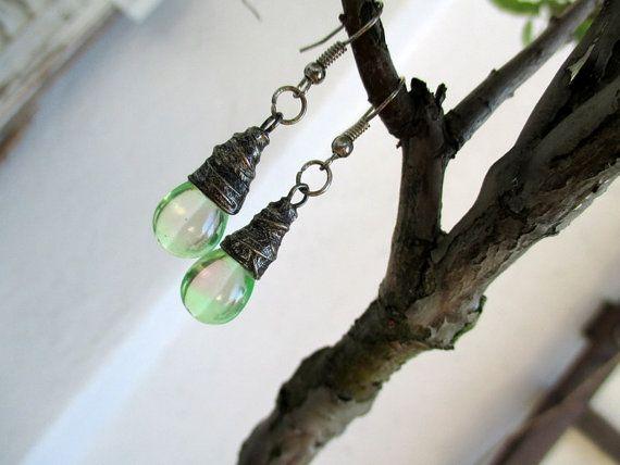 Czech Glass Earrings, earrings glass droplets, glass earrings, Tiffany Technique, OOAK