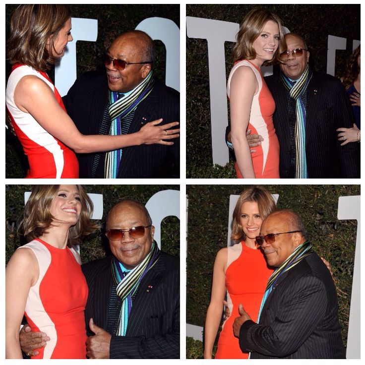 Stana meets Quincy Jones. Both seem equally excited.