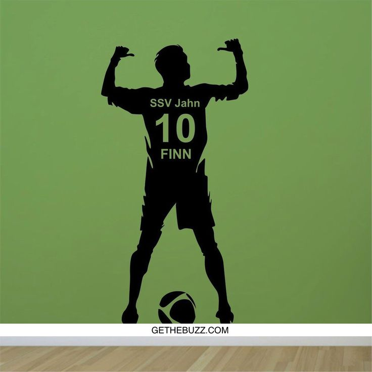 Football Soccer Ball Personalized Name & Number Vinyl Wall Decal – GetheBuzz