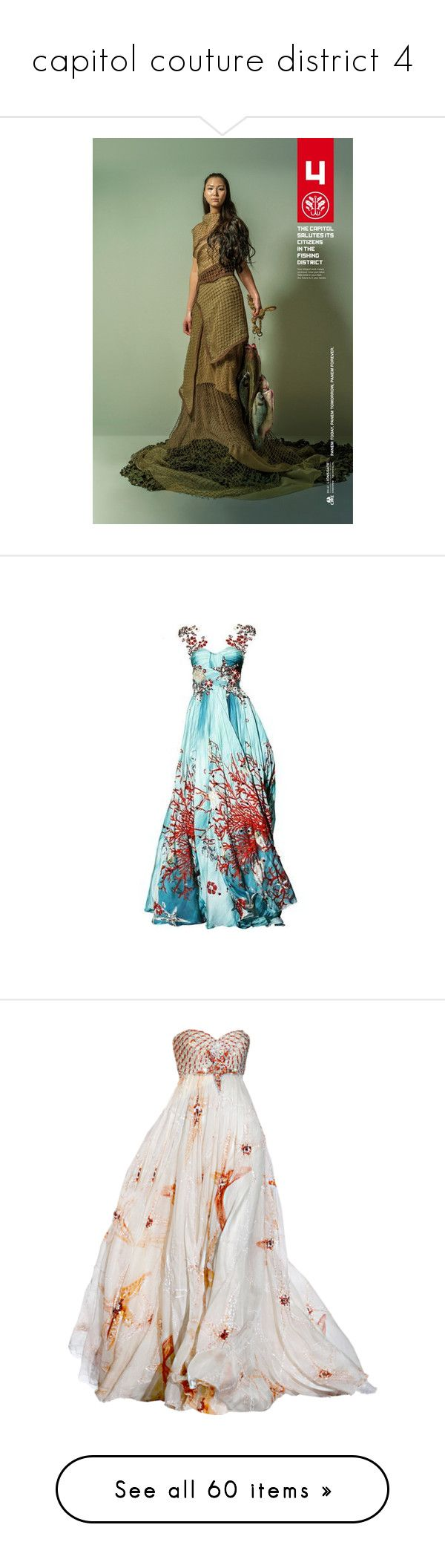 """capitol couture district 4"" by rebellious-ingenue ❤ liked on Polyvore featuring dresses, gown, abiti, blue dress, gowns, long dresses, vestidos, zuhair murad gowns, zuhair murad evening gowns and zuhair murad dresses"