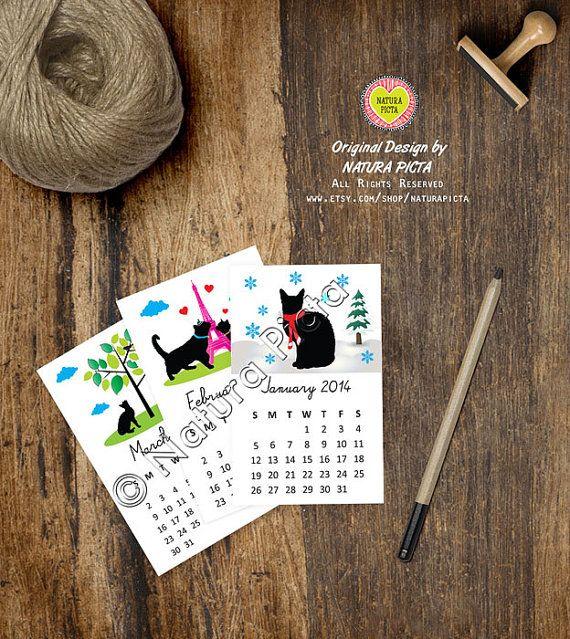 Funny Black Cats Mini desk calendar2.2x3.5 inchCats by naturapicta, $14.95 © NATURA PICTA All Rights Reserved