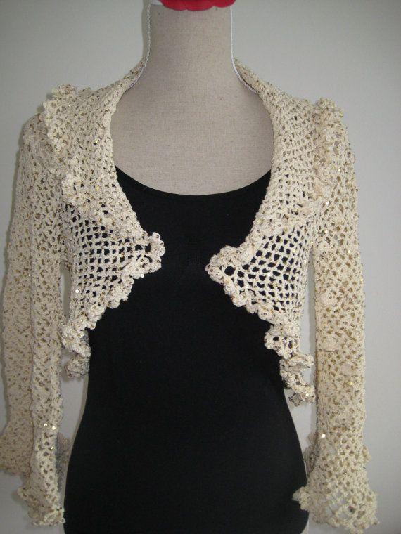 Bolero Paillette Light White Gold Crocheted by MinnieCreation, €99.82