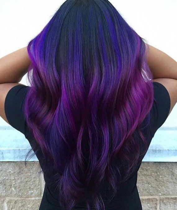 Purple Ombre Hair, Human Hair Extensions, Clip in Extensions, Purple Ombre Hair, Black Ombre Hair, Ombre Extensions, Violet Purple Hair