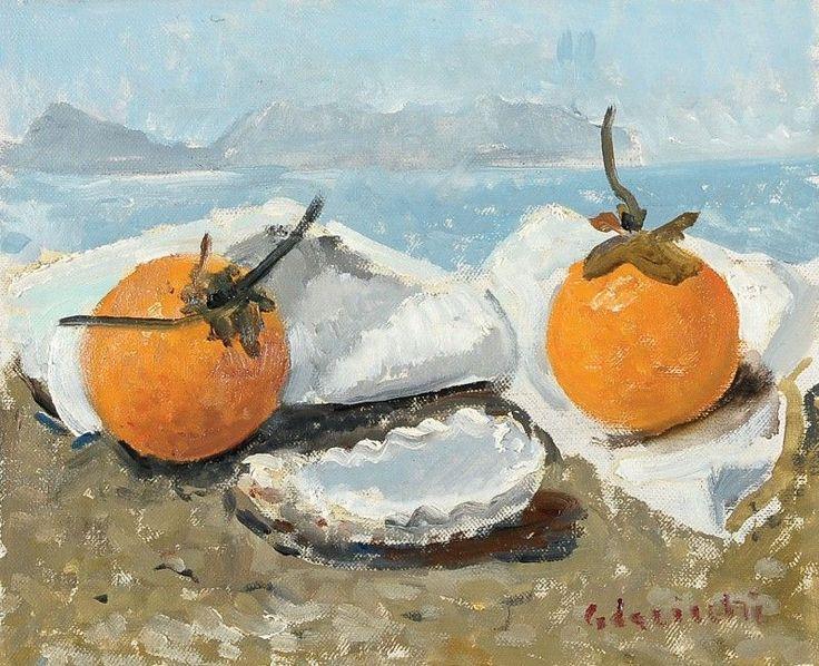 Giovanni Colacicchi – Natura morta sulla spiaggia - Olio su tela - cm. 20x25