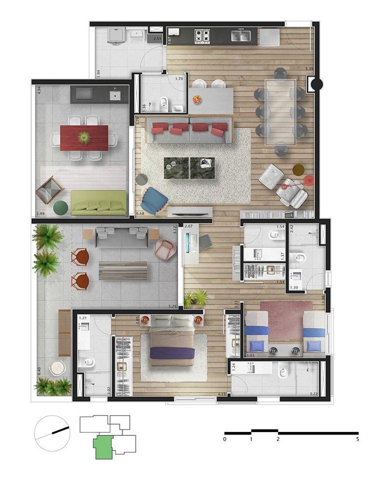 Pinterest: @claudiagabg | Apartamento 2 cuartos 1 estudio abierto 2 terrazas