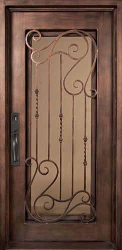 40x98 Affinity Iron Door. Beautiful wrought iron front entry door with grille from Door Clearance Center.