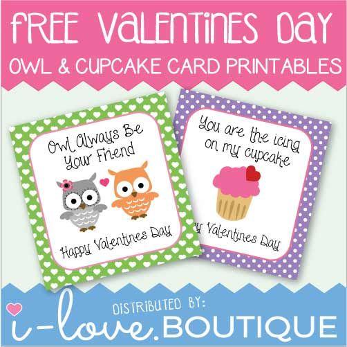 Owl & Cupcake Valentine Cards
