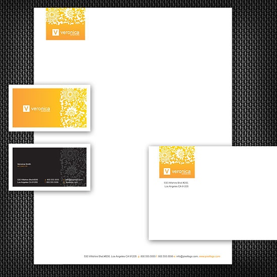 A Yellow and Black Stationery Set Design. #stationery #design  $39.00