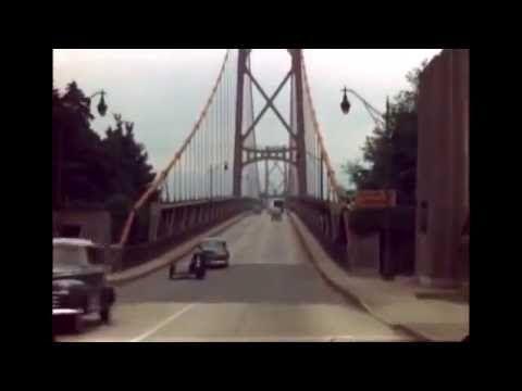 Colour home movie of driving over Lion's Gate Bridge in circa 1947