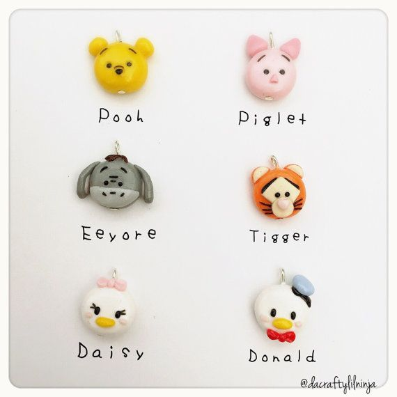 Tsum Tsum Phone Charm Winnie the Pooh Tigger Piglet Eeyore Donald Duck Daisy Duck Polymer Clay Kawaii (Choose One)