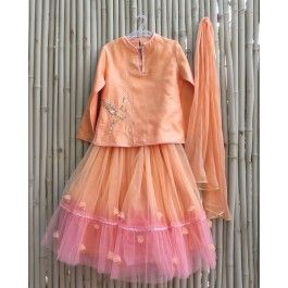 #ExclusivelyEOSS Blush Peach Lengha Set with Sequin Parrot Motif
