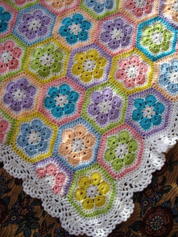 African flower Crochet Blanket Granny Square Afghan by GalyaKireva