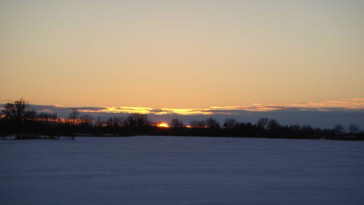 Winter Sunset over Ontario farms