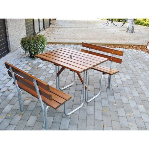 Ideal for schools, commercial and industrial settings. A steel tube and lacquered timber 4 seat picnic table. Free UK delivery.
