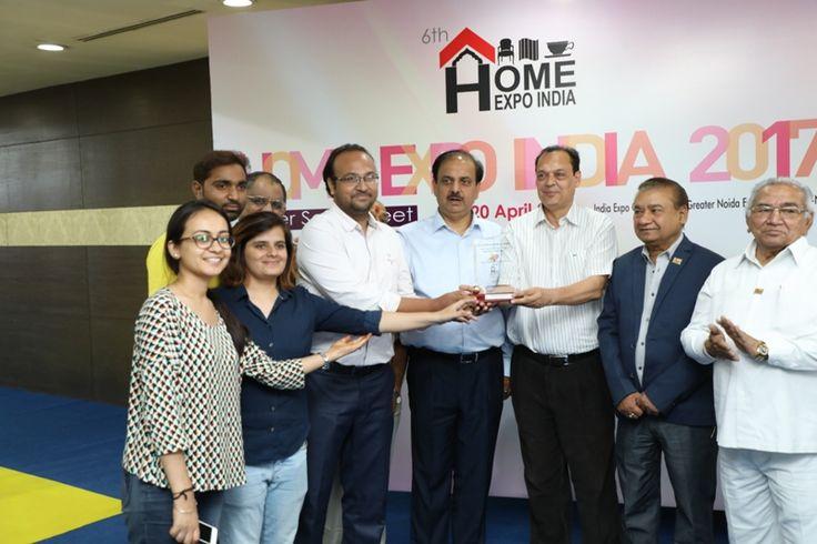 The Ajai Shankar Memorial Gold Award in Furniture & Accessories category given to M/s Basant, Jodhpur. Mr. Mayank Jain received the award. - at Home Expo India, 2017
