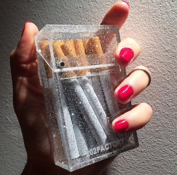 bag pouch glitter cigarette case see through plastic smoking jewels cigarette cigarettes sparkles cigarette holder transparent with glitter hair accessories