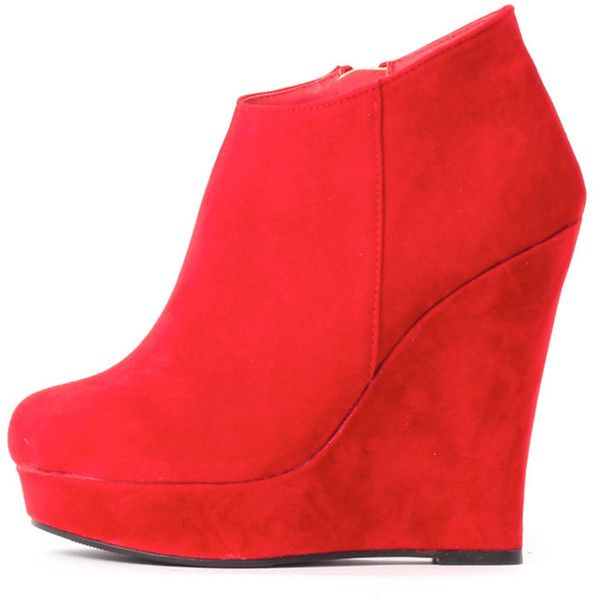 Cassie Red Wedge Boots ($25) ❤ liked on Polyvore featuring shoes, boots, ankle booties, red, short boots, wedge heel booties, red bootie, red ankle booties and red boots