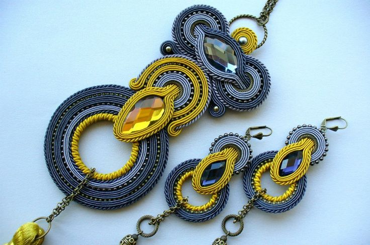 Grey-yellow soutache set: earrings and necklace.