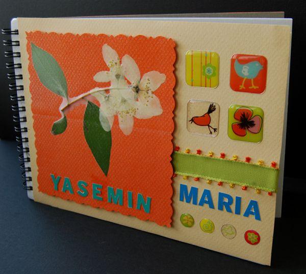 custom baby book, handmade baby journal, nursery book, handmade baby book, botanical theme baby book, jasmine theme baby journal