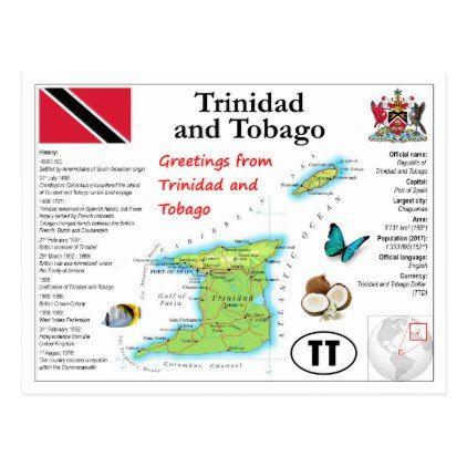 Trinidad and Tobago Map Postcard - postcard post card postcards unique diy cyo customize personalize