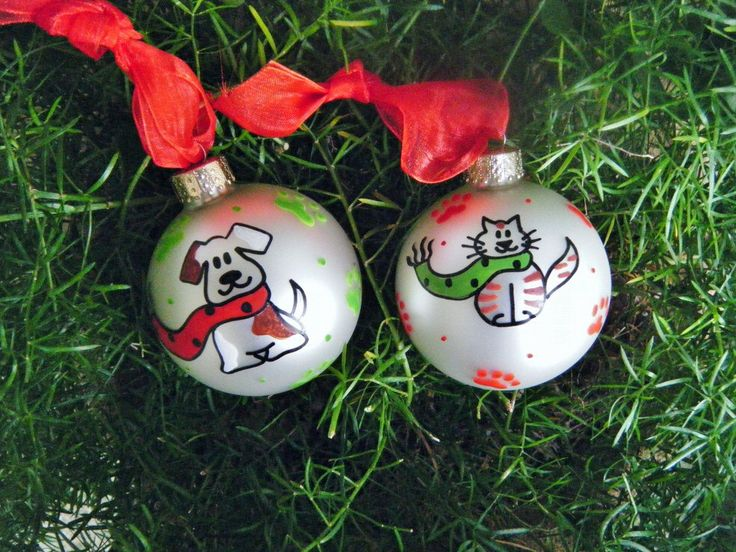 SALE - Cat and Dog Christmas Ornaments - Personalized Free - Cat Lover, Dog Lover Baubles, TWO ORNAMENTS, Pet Lover, Personalized Pet by BrushStrokeOrnaments on Etsy https://www.etsy.com/listing/64634398/sale-cat-and-dog-christmas-ornaments