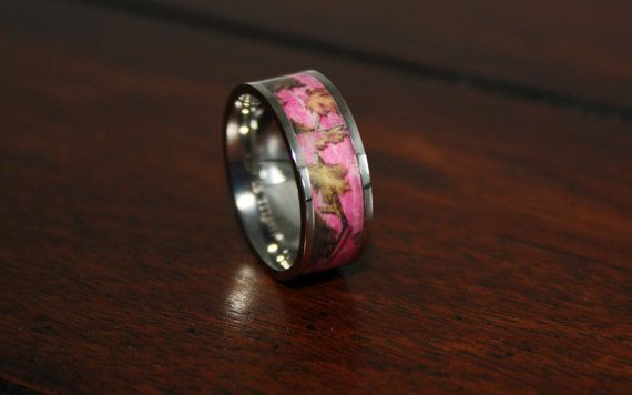Pink Camo Wedding Ring - Titanium Wedding Band - Camo Ring - Birthday Gift Mothers Day on Etsy, $99.99