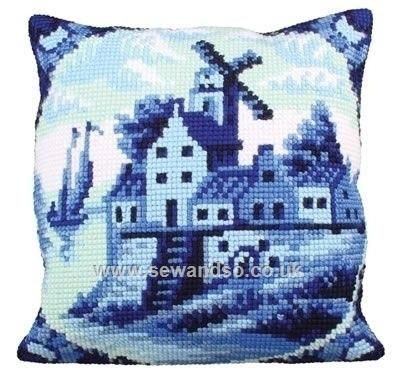 Delftware 2 Cushion Front Chunky Cross Stitch Kit