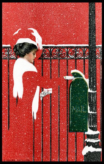 COLES PHILLIPS - Woman at Mailbox in Snow