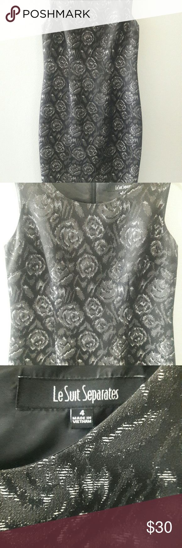 """Le Suit Separates Black-Silver-Gray Floral Print 4 Worn once.  Good condition. Sheath and sleeveless. Sleeve Style. Regular size type. Knee-length. Floral pattern. Measurements: Chest 17"""" Length 37 1/2"""". le suit separates Dresses Midi"""