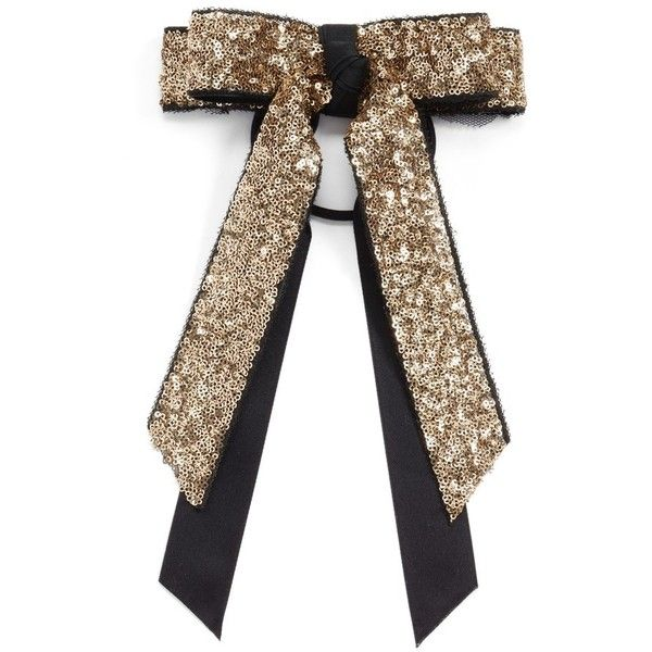 Women's Cara Sequin Bow Ponytail Holder (395 MXN) ❤ liked on Polyvore featuring accessories, hair accessories, gold, sparkly hair ties, bow hair accessories, sparkly hair accessories, ponytail hair ties and gold hair ties