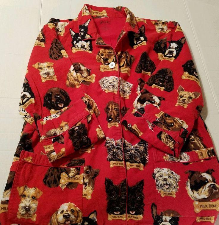 NICK AND NORA Ladies PAJAMA SET SLEEPWEAR RED MILK BONE DOGS FLANNEL Medium  | Clothing, Shoes & Accessories, Women's Clothing, Intimates & Sleep | eBay!
