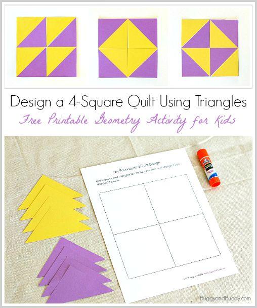 Crea uno de estos diseños con triángulos de colores en esta cuadrícula