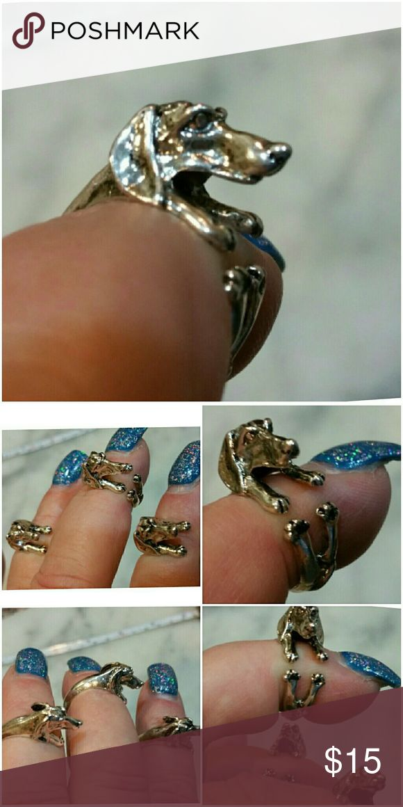 Adorable Dachshund Silver Filled Ring. .Adjustable So cute! Every dachshunds dream is to be with you everywhere you go, including this one! Adjustable to fit most Size fingers.  3 in stock. Price is set for one each. Jewelry Rings
