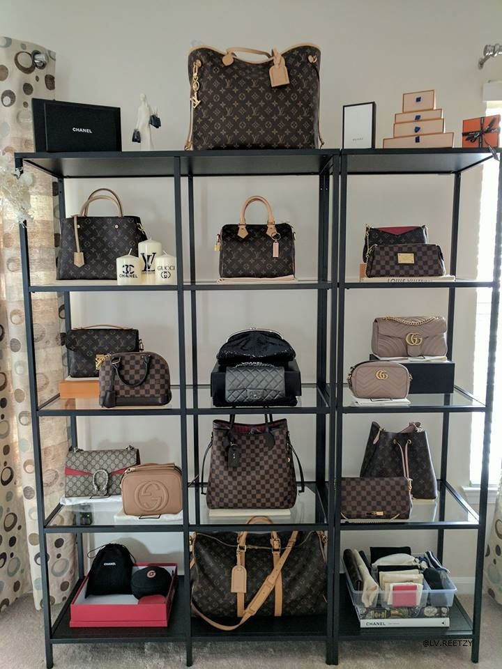 How to display and store your Louis Vuitton collection. This is how ‎Cynthia Plate‎ (our group member) keeps her LV bags! In the photo: Louis Vuitton Neverfull, Speedy, Montagine, Favorite, NeoNoe, Gucci Soho Disco, Louis Vuitton Alma, Gucci Marmont, Louis Vuitton Keepall, Pochette Metis, and other essentials! Feel free to join us to buy, sell, and chat about Louis Vuitton! Link on photo/