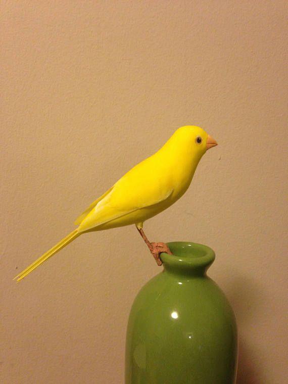 Bird Ada Yellow Canary Handmade Bird Bird Art Clay Bird
