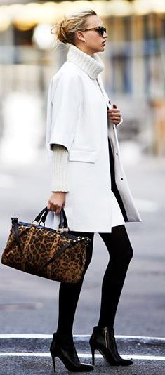 Raquel Wool Coat by Club Monaco ... winter white, turtleneck chunky knit sweater, leopard bag, ankle boots