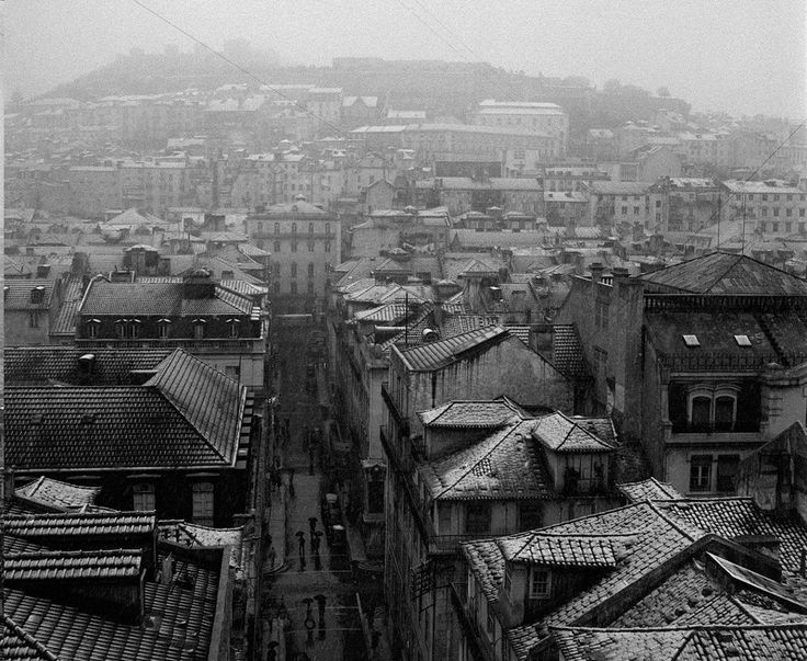 Lisboa com neve, Zona da Baixa,1954