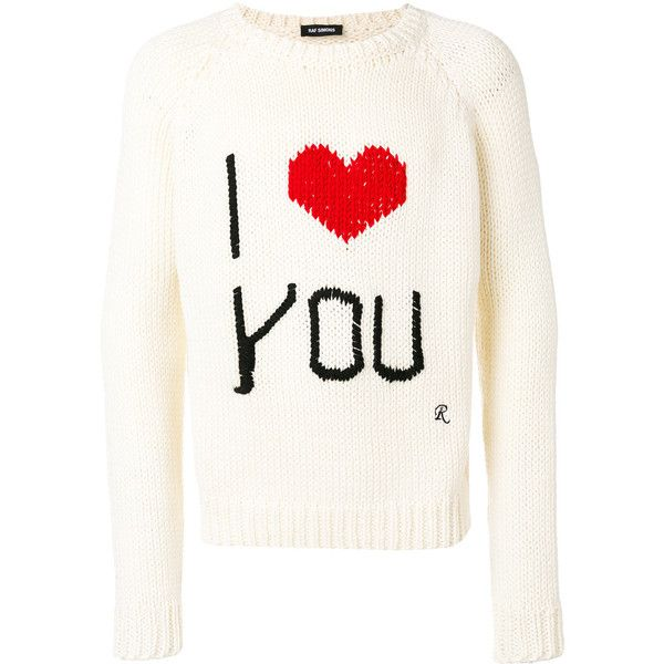Raf Simons love intarsia jumper ($1,170) ❤ liked on Polyvore featuring men's fashion, men's clothing, men's sweaters, white, mens wool sweaters, mens white sweater and mens woolen sweaters