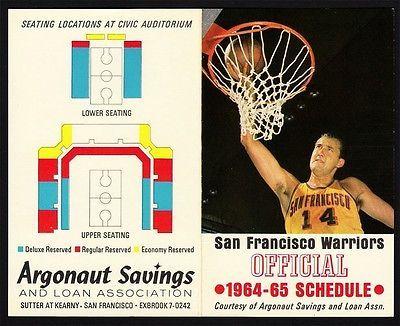 San Francisco Warriors _RARE_ 1964/1965 Pocket Schedule NBA Golden State pennant