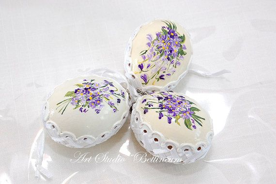 Set of Easter Eggs Violets Hand chiken egg. Price per by Bettineum, $35.00
