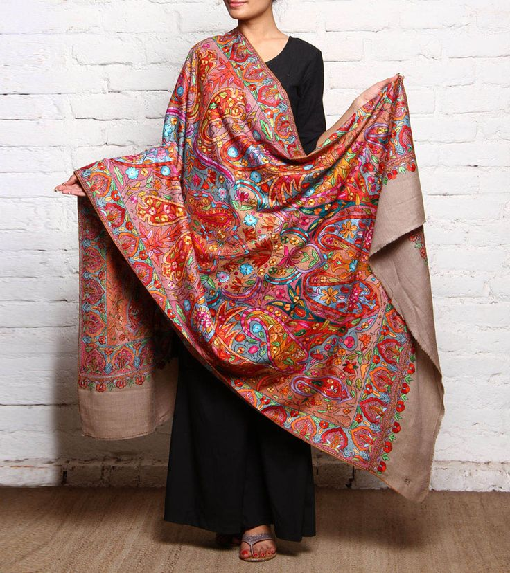Beige Embroidered Pure Pashmina Shawl
