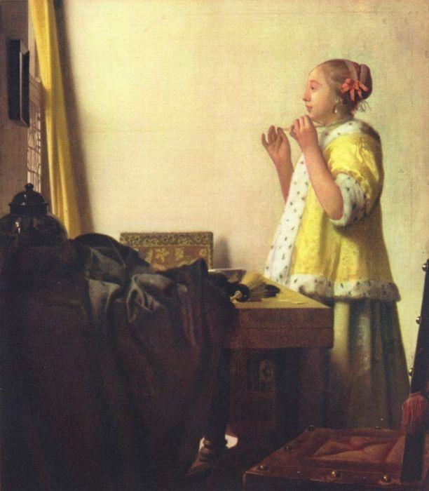 Ян Вермеер. Женщина с жемчужным ожерельем (1664- 65, Старая национальная галерея, Берлин)   (612x700, 288Kb)
