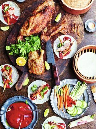 Roast chinese duck and hoisin sauce