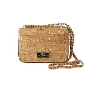 Natalie Crossbody Bag by Nina Bernice made from Cork and with luxurious gold details. Vega, Eco-chic